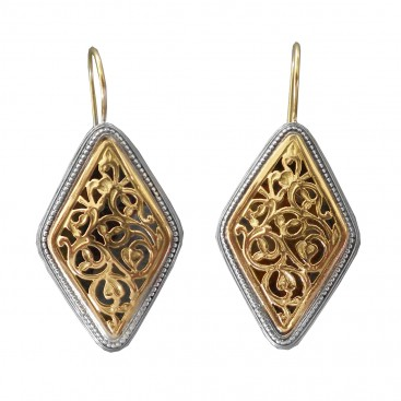 Gerochristo 1095N ~ Solid Gold & Silver Medieval-Byzantine Drop Earrings