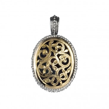 Gerochristo 1100N ~ Solid Gold & Silver Medieval-Byzantine Filigree Pendant