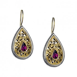 Gerochristo 1105N ~ Solid Gold, Silver & Stones - Medieval Byzantine Drop Earrings