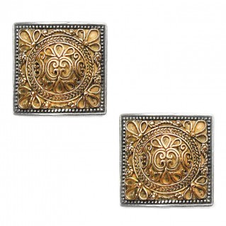 Gerochristo 1122 ~ Solid Gold and Sterling Silver Byzantine Medieval Earrings