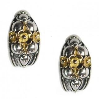 Gerochristo 1125 ~ Solid Gold & Sterling Silver Medieval-Byzantine Half Hoop Earrings