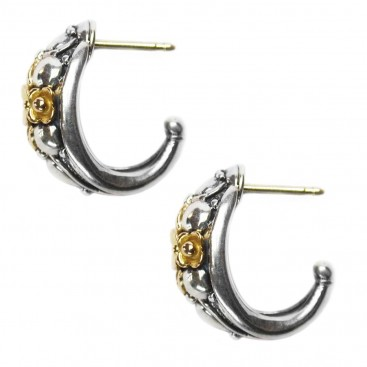 Gerochristo 1125 ~ Solid Gold & Sterling Silver Medieval-Byzantine Half Hoop Earrings