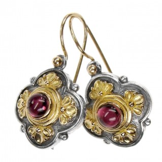 Gerochristo 1126 ~ Solid Gold & Sterling Silver Medieval-Byzantine Earrings