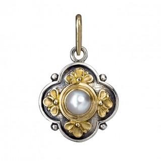 Gerochristo 1126 ~ Solid Gold, Silver & Stone - Medieval Byzantine Pendant