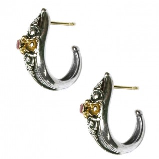 Gerochristo 1129 ~ Solid Gold & Sterling Silver Medieval-Byzantine Half Hoop Earrings