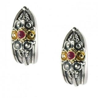 Gerochristo 1129 ~ Solid Gold & Sterling Silver Medieval-Byzantine Half Hoop Earrings