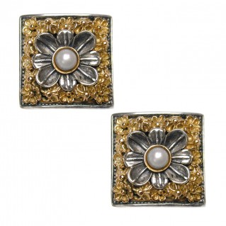Gerochristo 1130 ~ Solid Gold and Sterling Silver Byzantine Medieval Earrings