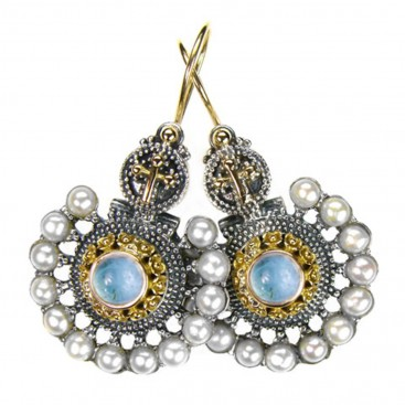 Gerochristo 1134 ~ Solid Gold, Silver & Pearls Medieval Byzantine Earrings