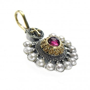 Gerochristo 1134 ~ Solid Gold, Silver & Pearls Medieval Byzantine Pendant