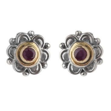 Gerochristo 1135 ~ Solid Gold, Sterling Silver & Rubies Byzantine Medieval Stud Earrings