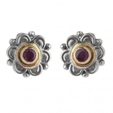 Gerochristo 1135 ~ Solid Gold, Sterling Silver & Rubies Byzantine Medieval Stud Earrings