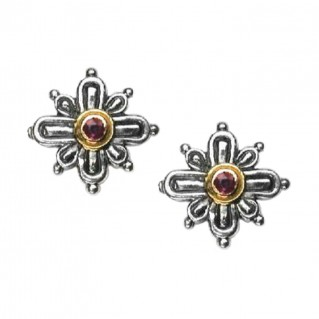 Gerochristo 1136 ~ Solid Gold, Sterling Silver & Rubies Byzantine Medieval Earrings