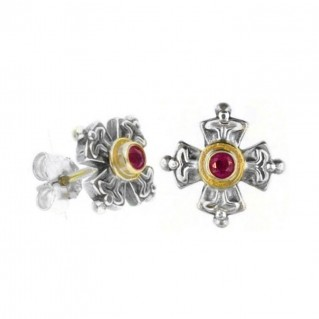 Gerochristo 1137 ~ Solid Gold, Silver & Rubies Byzantine Medieval Cross Earrings