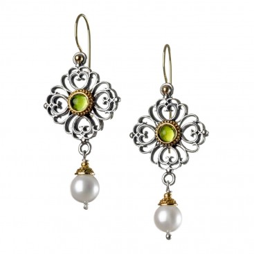 Gerochristo 1142N ~ Solid Gold, Silver & Pearls - Medieval Dangle Earrings