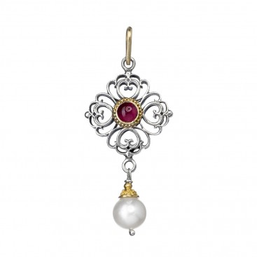 Gerochristo 1142N~ 18K Solid Gold & Silver Medieval Charm Pendant