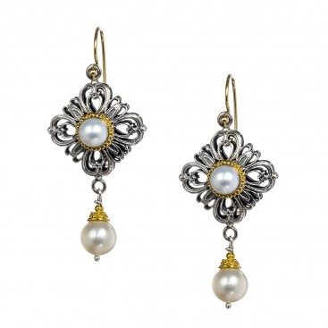 Gerochristo 1143N ~ Solid Gold, Silver & Pearls - Medieval Dangle Earrings