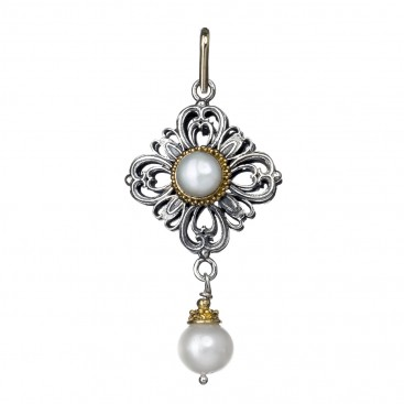 Gerochristo 1143N ~ 18K Solid Gold & Silver Medieval Charm Pendant