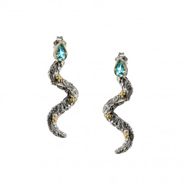 Gerochristo 1144N ~ Solid Gold & Sterling Silver Snake Drop Earrings