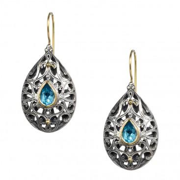 Gerochristo 1146N ~ Solid Gold, Silver & Topaz - Medieval Byzantine Drop Earrings