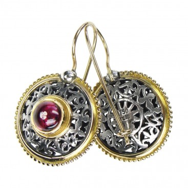 Gerochristo 1146 ~ Solid Gold, Sterling Silver & Tourmaline Medieval - Byzantine Earrings