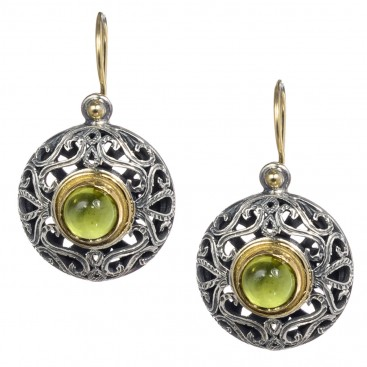 Gerochristo 1147N ~ Solid Gold, Silver & Peridot - Medieval Byzantine Drop Earrings
