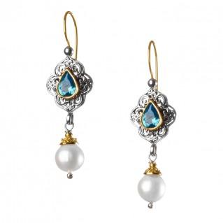Gerochristo 1152N ~ Solid Gold, Silver & Stones Medieval Dangle Earrings
