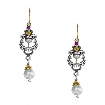 Gerochristo 1155N ~ Solid Gold, Silver & Stones - Medieval Dangle Earrings