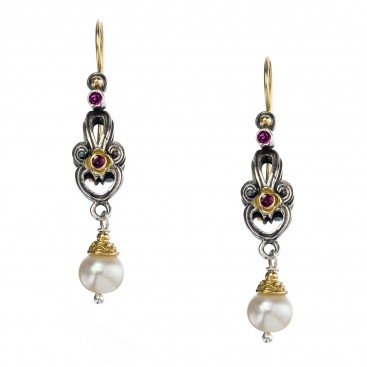 Gerochristo 1156N ~ Solid Gold, Silver & Stones - Medieval Drop Earrings