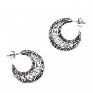 Gerochristo 1162 ~ Sterling Silver Medieval-Byzantine Crescent Earrings - S