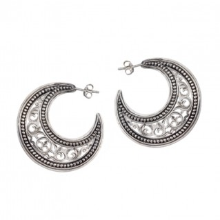 Gerochristo 1163 ~ Sterling Silver Medieval-Byzantine Crescent Earrings - M