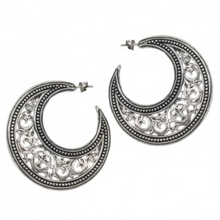 Gerochristo 1164 ~ Sterling Silver Medieval-Byzantine Crescent Earrings - L
