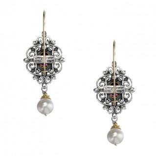 Gerochristo 1167N ~ Solid Gold, Silver & Gems - Medieval Drop Earrings