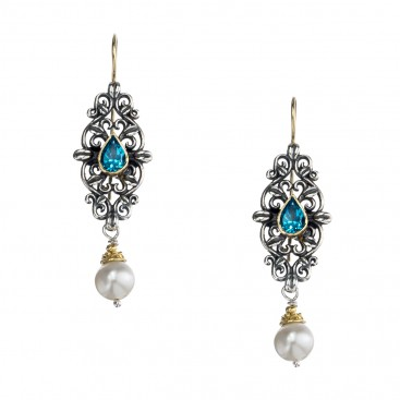 Gerochristo 1168N ~ Solid Gold, Silver & Gems - Medieval Drop Earrings