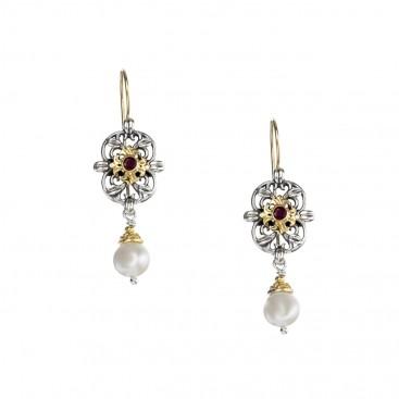 Gerochristo 1171N ~ Solid Gold, Silver & Gems - Medieval Drop Earrings