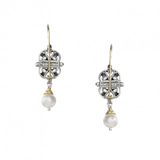 Gerochristo 1171N ~ Solid Gold, Silver & Gems - Medieval Drop Earrings