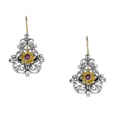 Gerochristo 1178N ~ Solid Gold & Sterling Silver - Medieval Drop Earrings