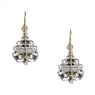 Gerochristo 1180N ~ Solid Gold, Silver & Gems - Medieval Drop Earrings
