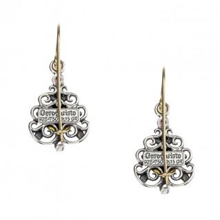 Gerochristo 1180N ~ Solid Gold, Silver & Gems - Medieval Drop Earrings