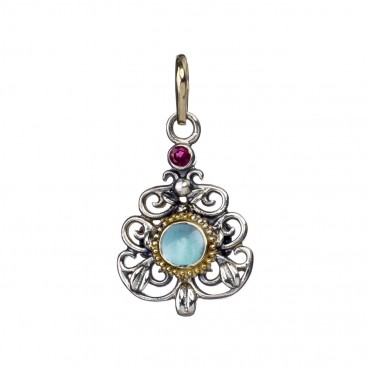Gerochristo 1180N ~ 18K Solid Gold & Silver Medieval Charm Pendant