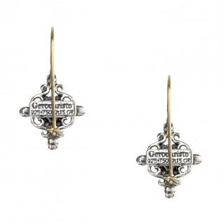 Gerochristo 1181N ~ Solid Gold & Sterling Silver - Medieval Drop Earrings