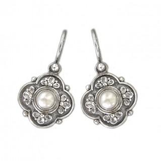Gerochristo 1181 ~ Sterling Silver & Pearls Medieval-Byzantine Earrings