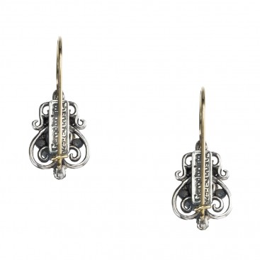 Gerochristo 1182N ~ Solid Gold & Sterling Silver - Medieval Drop Earrings