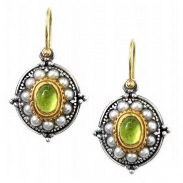 Gerochristo 1195 ~ Solid Gold, Silver & Pearls Medieval-Byzantine Earrings