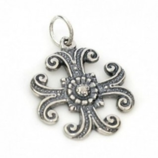 Floral Byzantine ~ Sterling Silver Cross Pendant