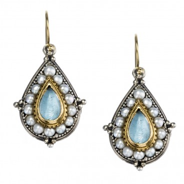Gerochristo 1196 ~ Solid 18K Gold, Sterling Silver & Pearls Medieval-Byzantine Earrings