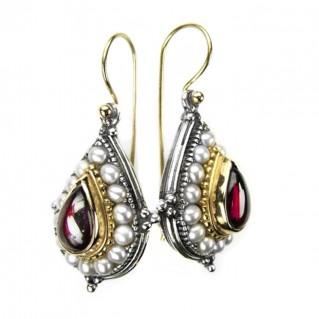Gerochristo 1196 ~ Solid 18K Gold, Sterling Silver & Pearls Medieval-Byzantine Earrings