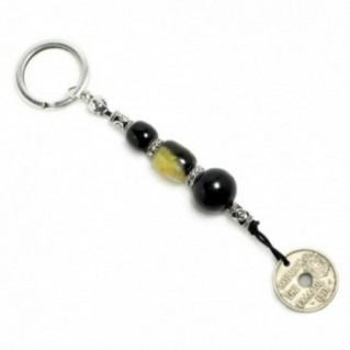 Keyring-Key Chain ~ High Quality Artificial Resin & Authentic Vintage Greek Coin - B&M