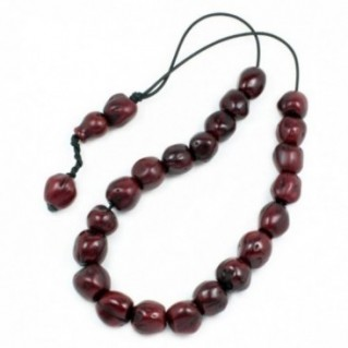 Worry Beads - Greek Komboloi ~ Scented Nutmeg Seeds - Burgundy