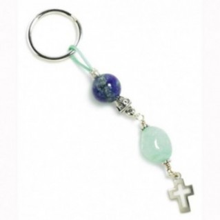 Lapis Lazuli, Aquamarine & Sterling Silver ~ Keyring-Key Chain with Cross