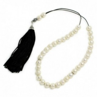 Prayer Beads-Tasbih-Masbaha-Worry Beads ~ Freshwater Pearls & Black Tassel